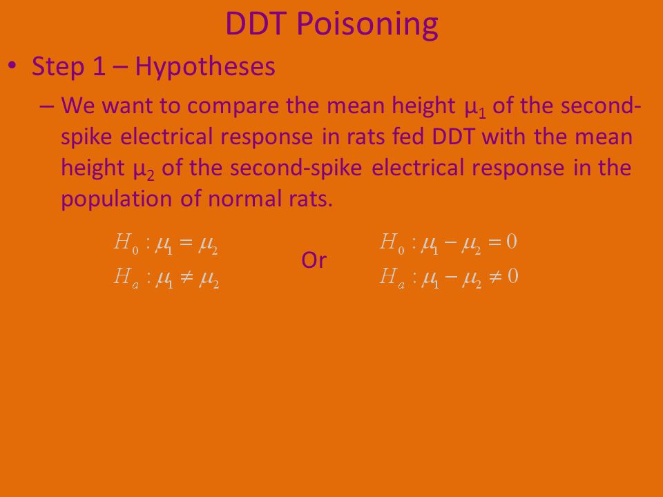 DDT Poisoning Step 1 – Hypotheses