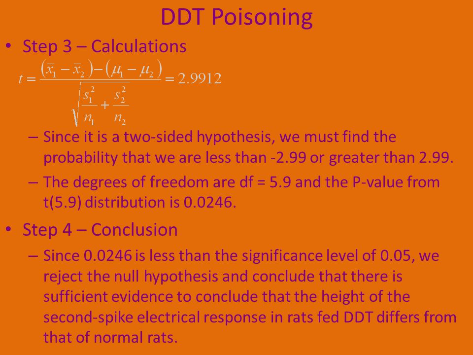 DDT Poisoning Step 3 – Calculations Step 4 – Conclusion