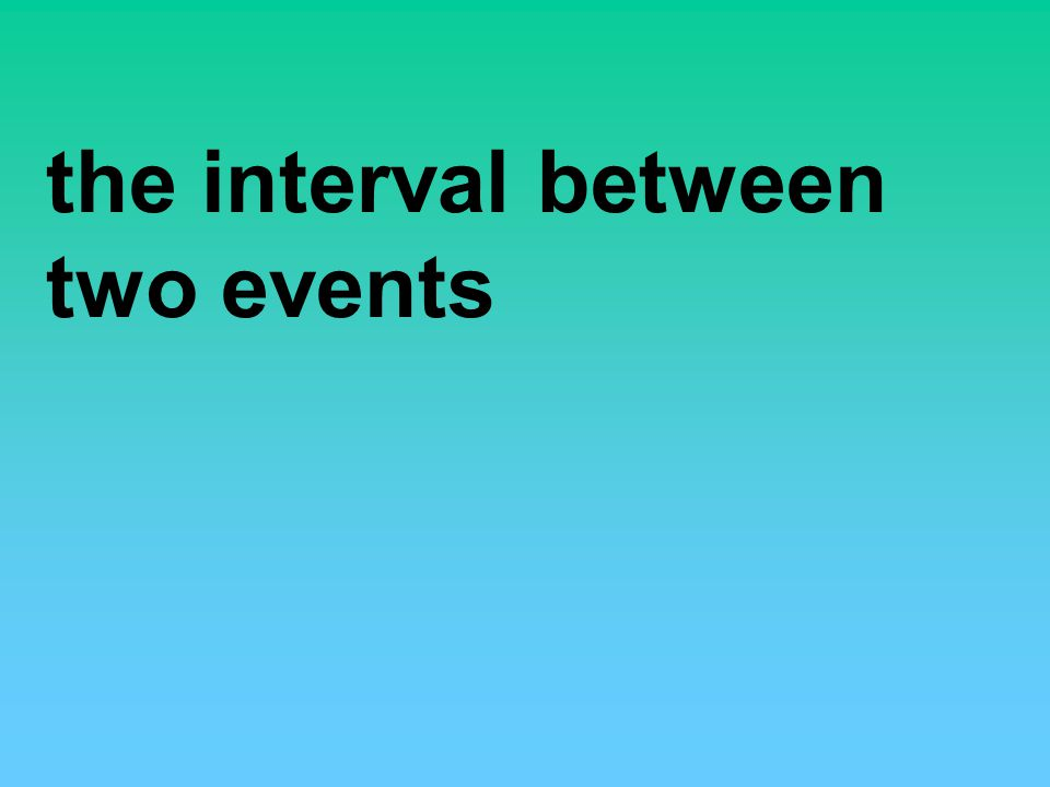 the interval between two events