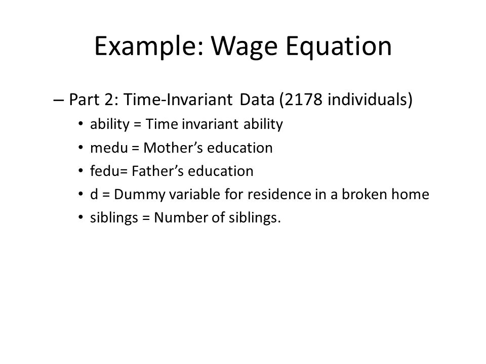 Example: Wage Equation