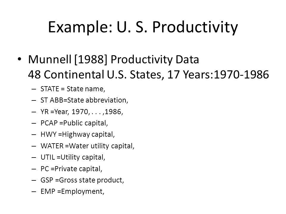 Example: U. S. Productivity