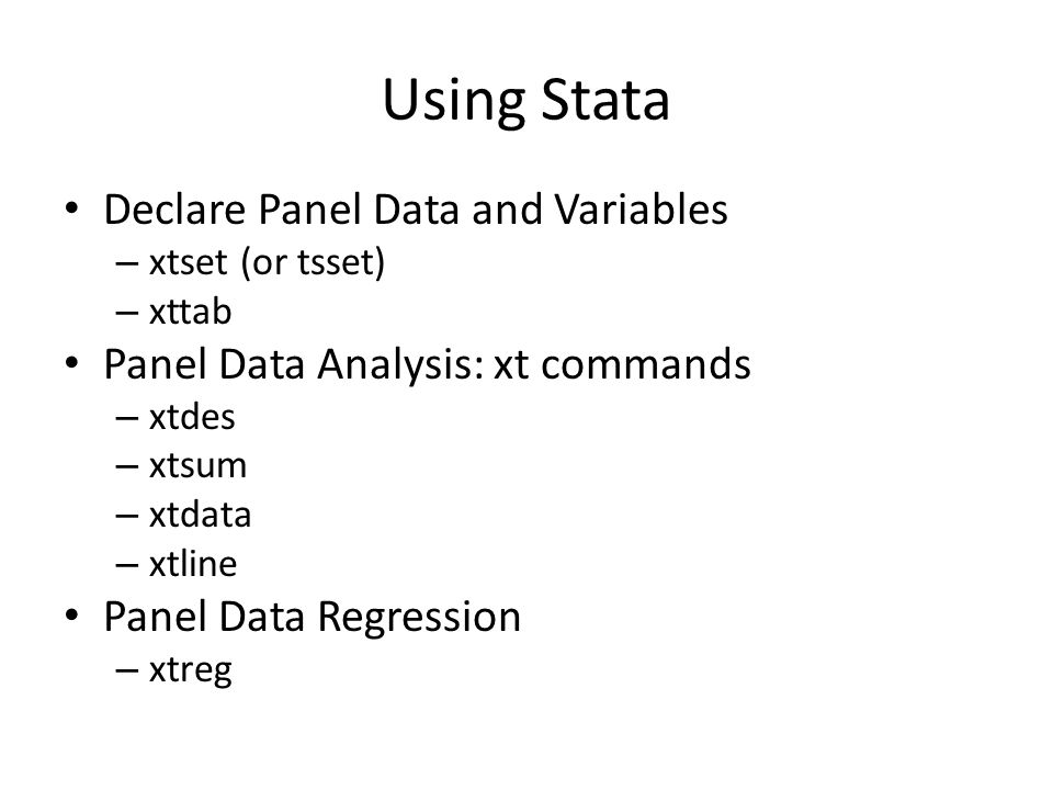 Using Stata Declare Panel Data and Variables