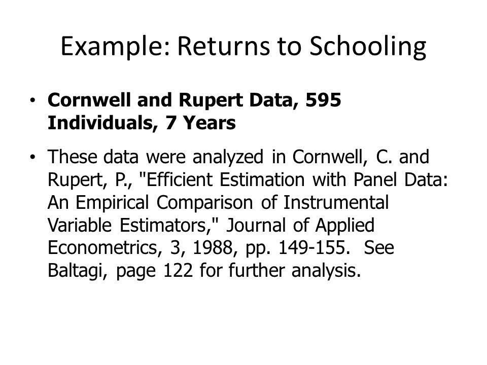 Example: Returns to Schooling