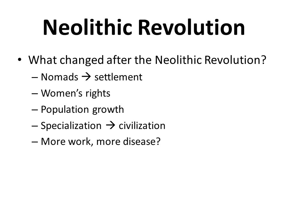 Neolithic Revolution What changed after the Neolithic Revolution