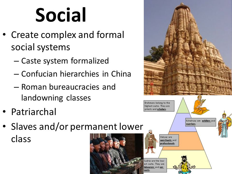 Social Create complex and formal social systems Patriarchal