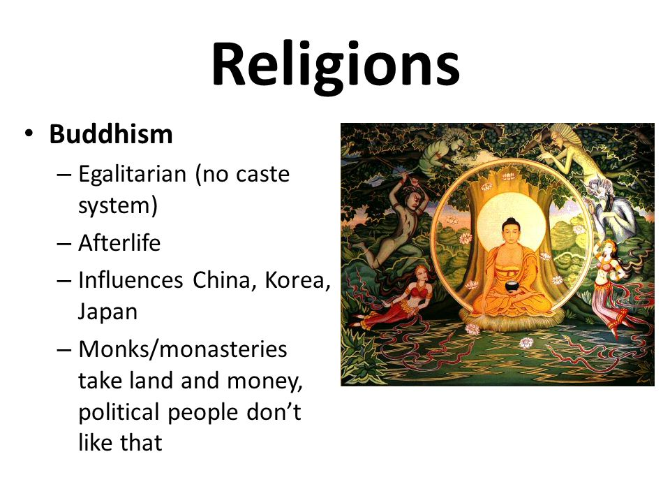Religions Buddhism Egalitarian (no caste system) Afterlife