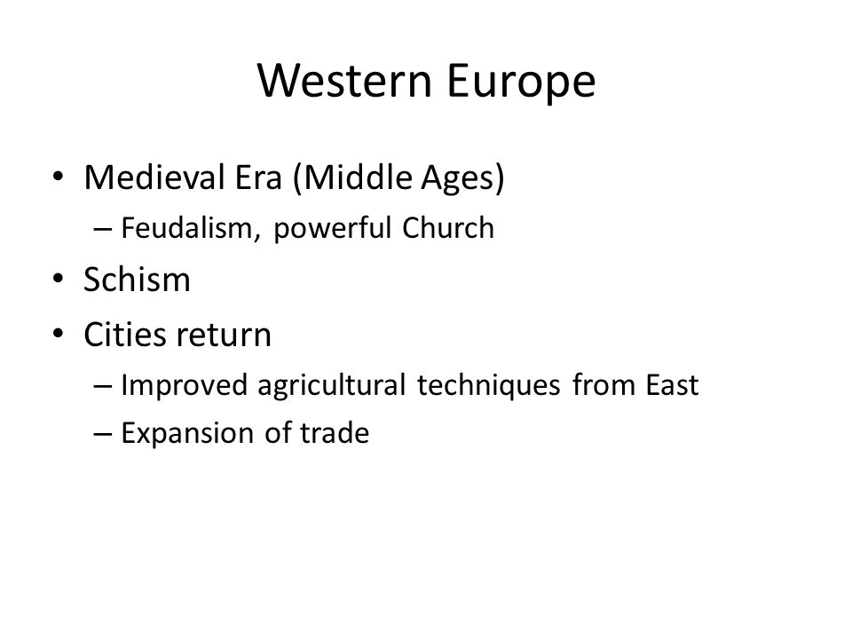Western Europe Medieval Era (Middle Ages) Schism Cities return