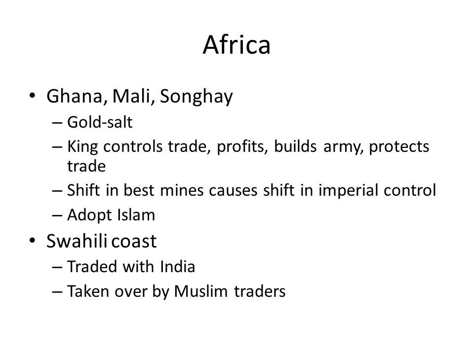 Africa Ghana, Mali, Songhay Swahili coast Gold-salt