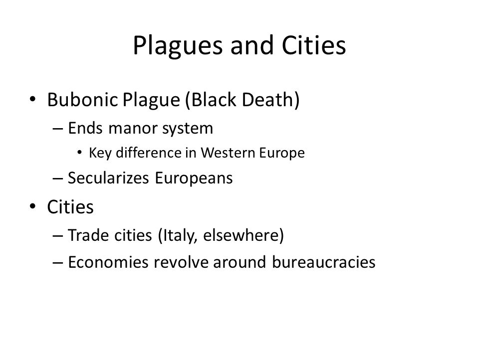 Plagues and Cities Bubonic Plague (Black Death) Cities