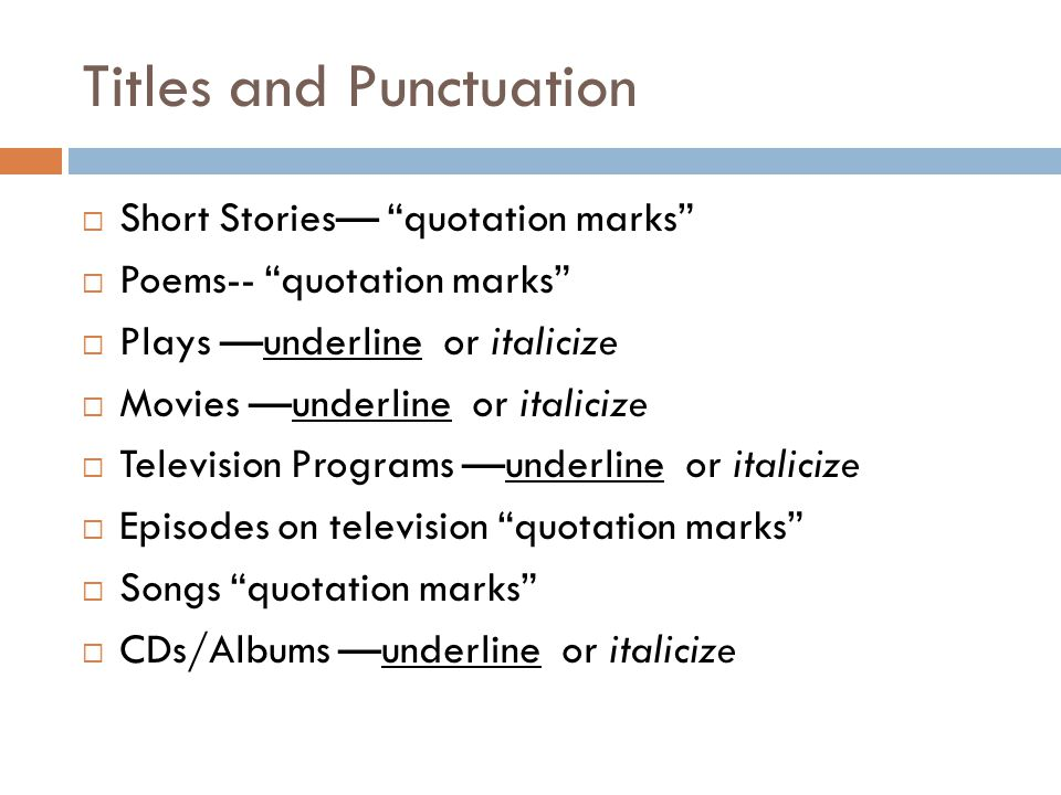 Titles and Punctuation