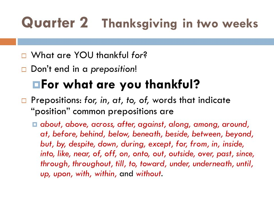 Quarter 2 Thanksgiving in two weeks
