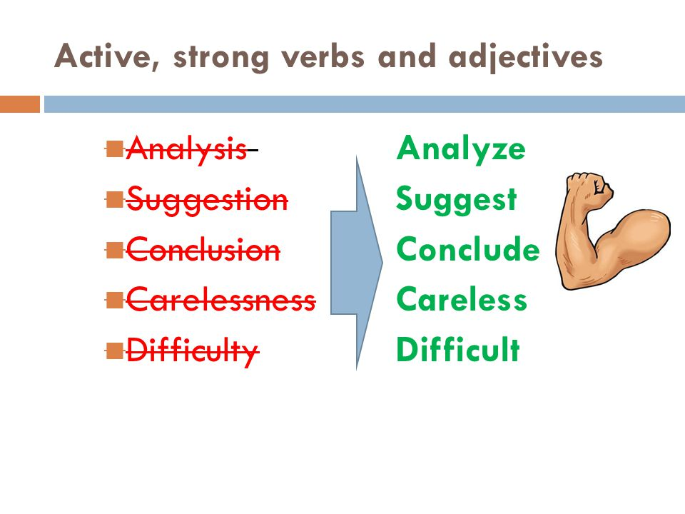 Active, strong verbs and adjectives
