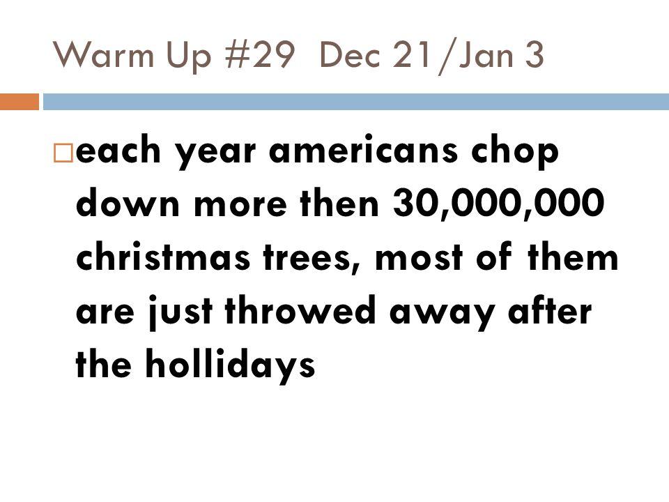 Warm Up #29 Dec 21/Jan 3