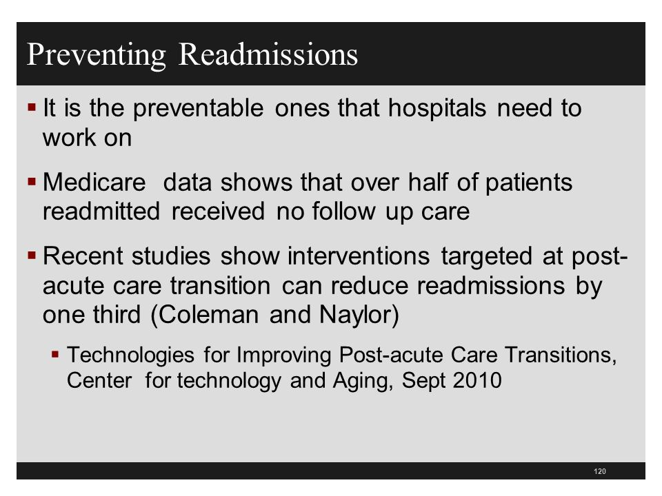 Preventing Readmissions