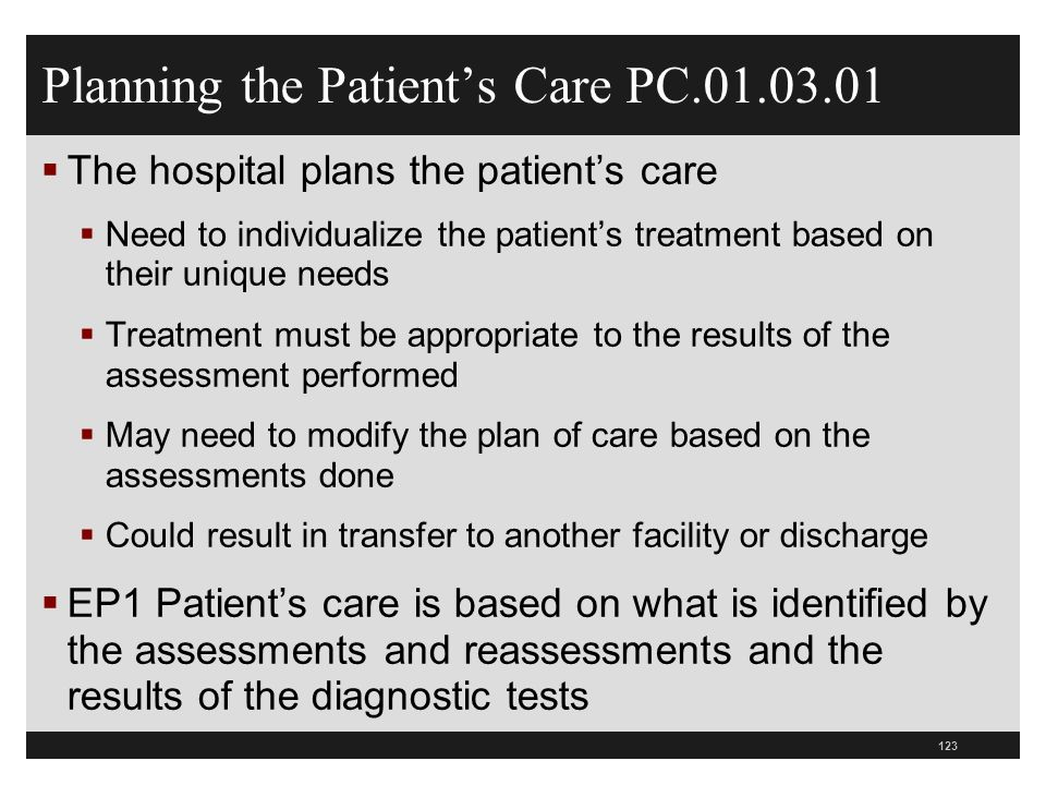 Planning the Patient's Care PC.01.03.01