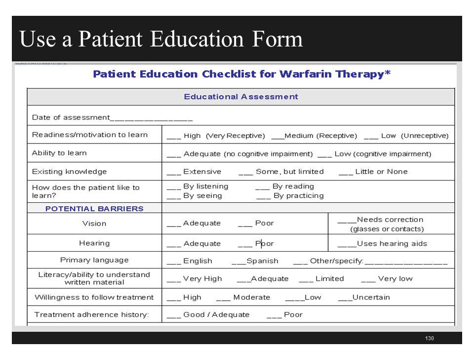Use a Patient Education Form