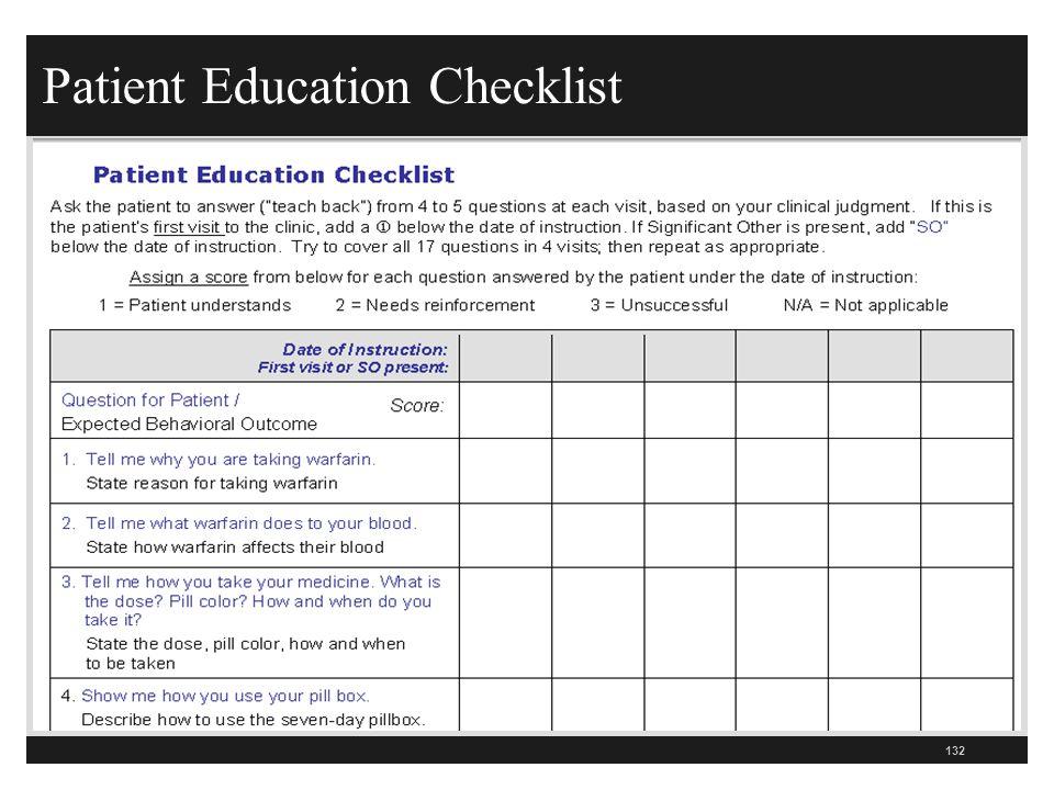 Patient Education Checklist