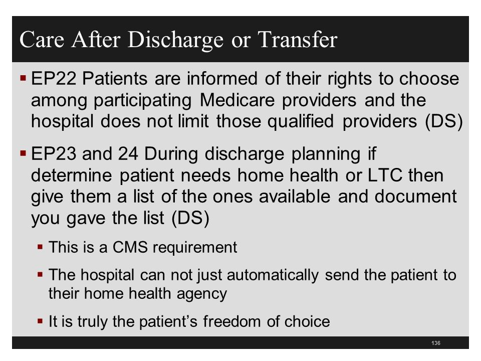 Care After Discharge or Transfer