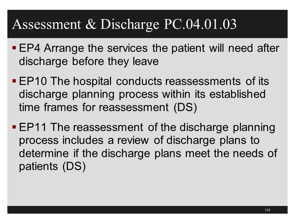 Assessment & Discharge PC.04.01.03