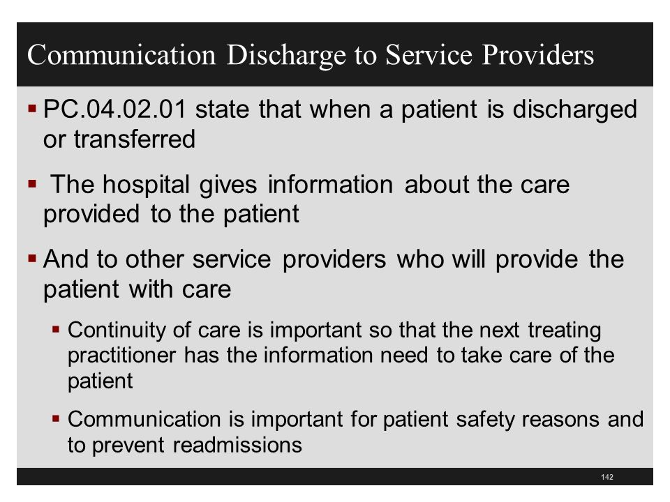 Communication Discharge to Service Providers