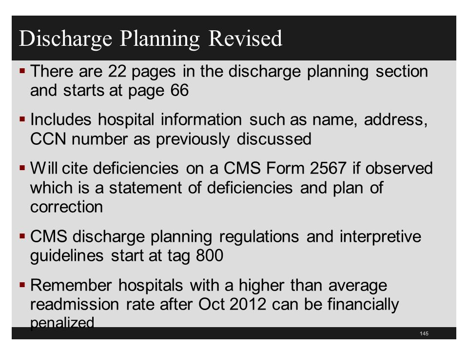 Discharge Planning Revised