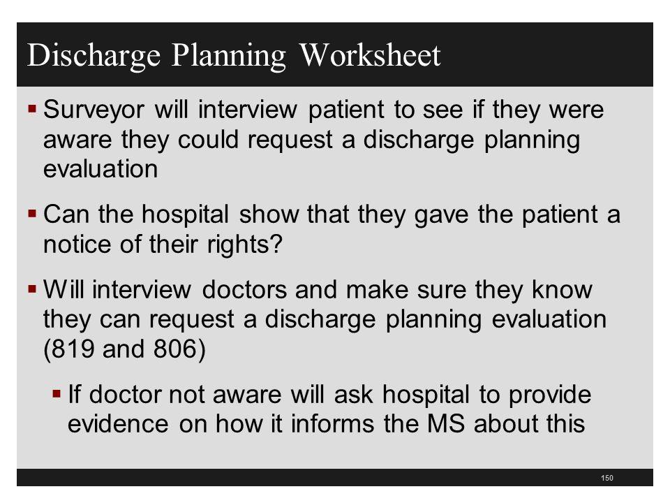 Discharge Planning Worksheet