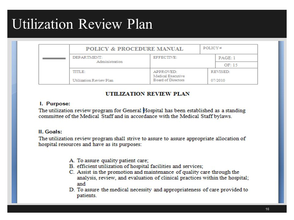 Utilization Review Personal Statement
