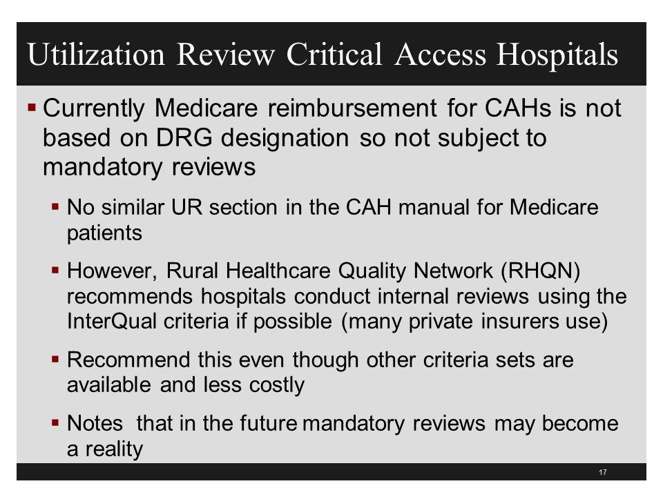 Utilization Review Critical Access Hospitals