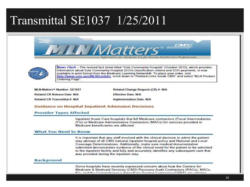 Transmittal SE1037 1/25/2011