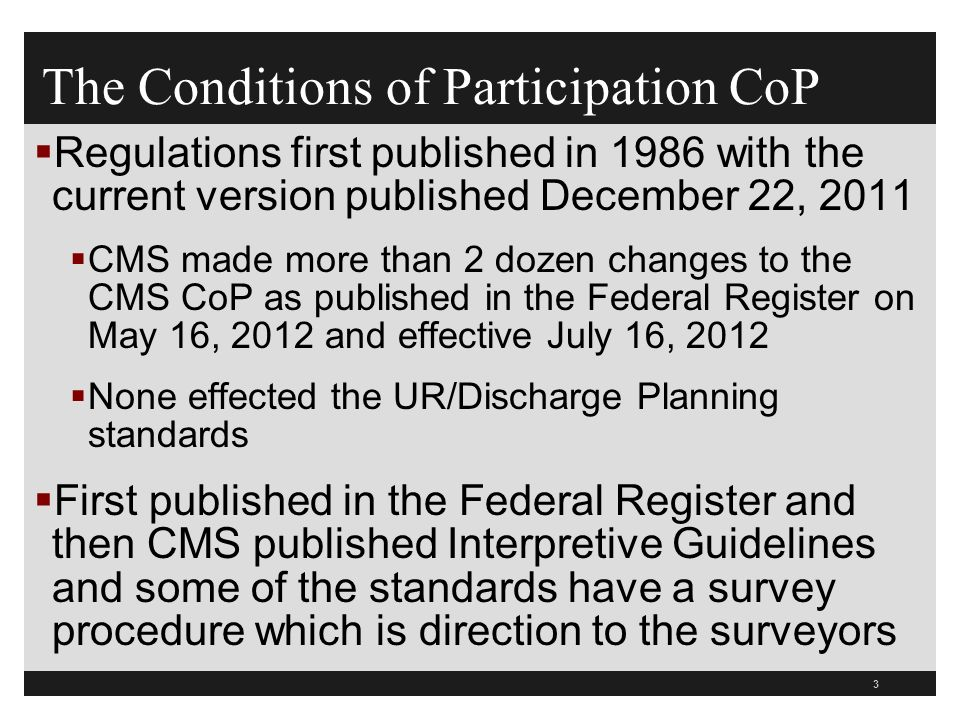 The Conditions of Participation CoP