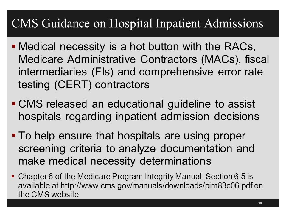 CMS Guidance on Hospital Inpatient Admissions