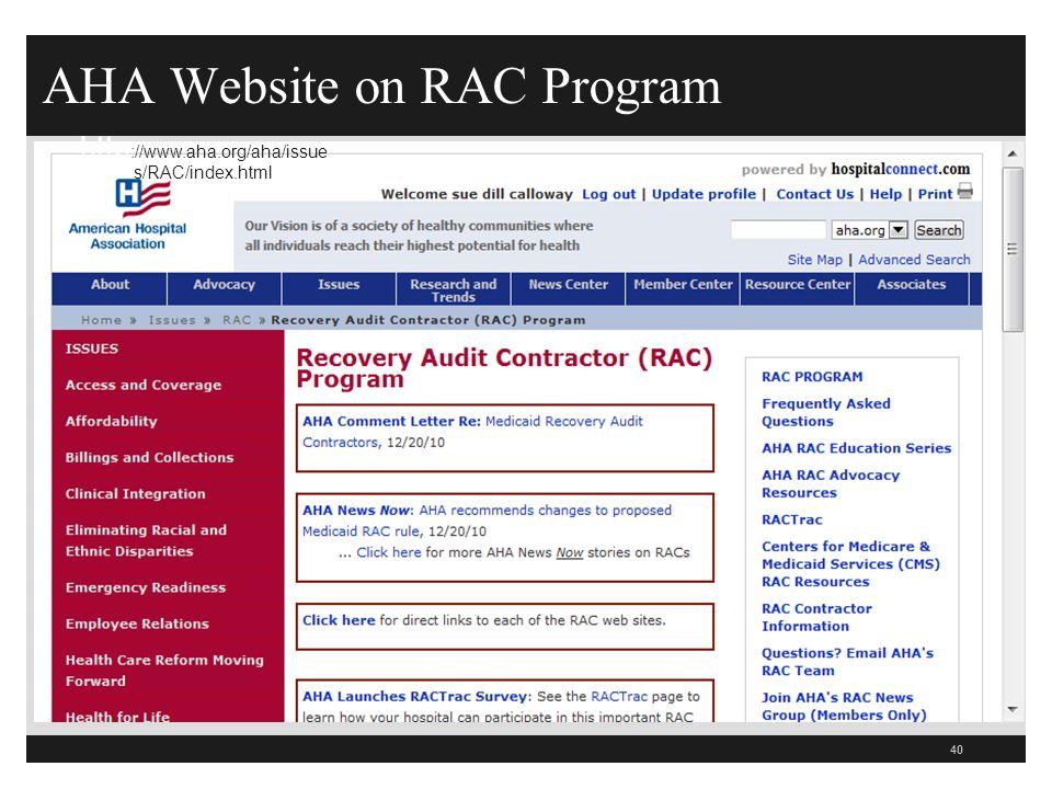 AHA Website on RAC Program