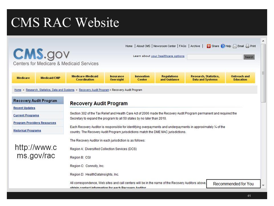 CMS RAC Website http://www.cms.gov/rac