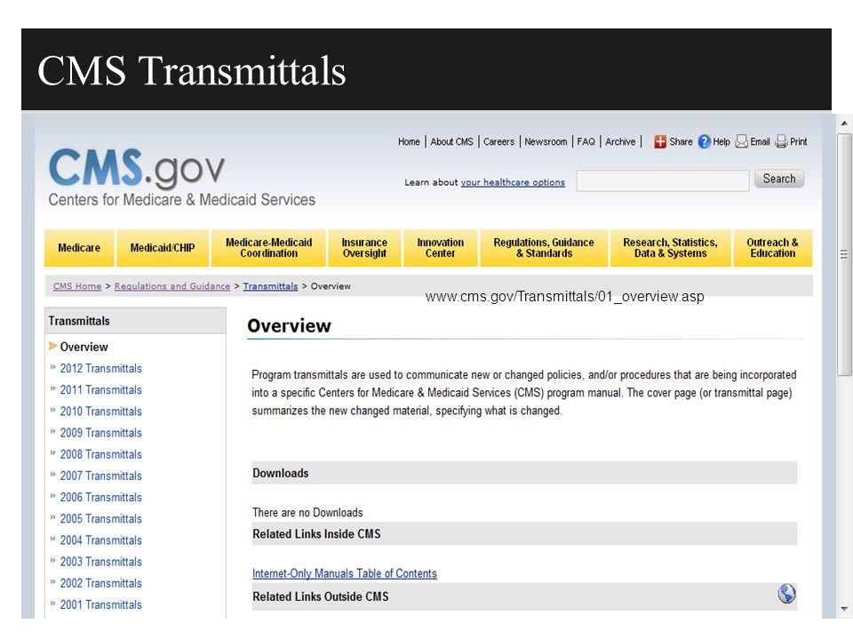 CMS Transmittals www.cms.gov/Transmittals/01_overview.asp
