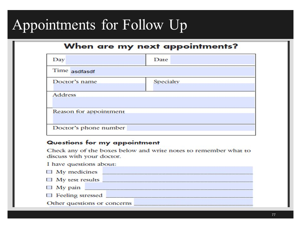 Appointments for Follow Up