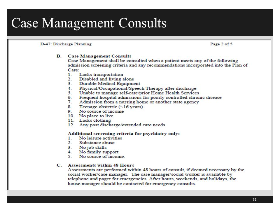 Case Management Consults