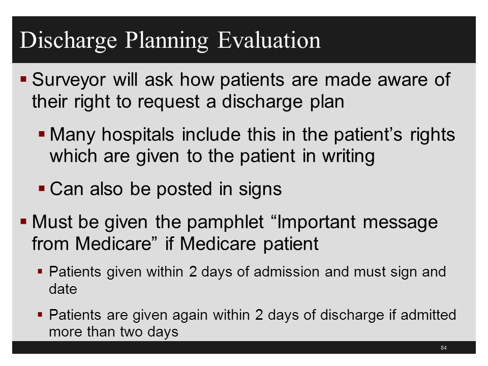 Discharge Planning Evaluation