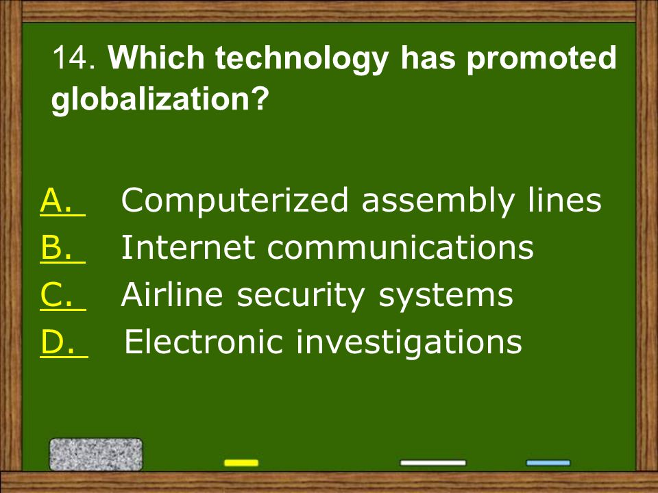 14. Which technology has promoted globalization