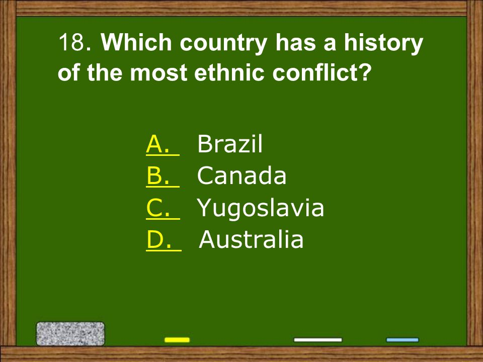 18. Which country has a history of the most ethnic conflict