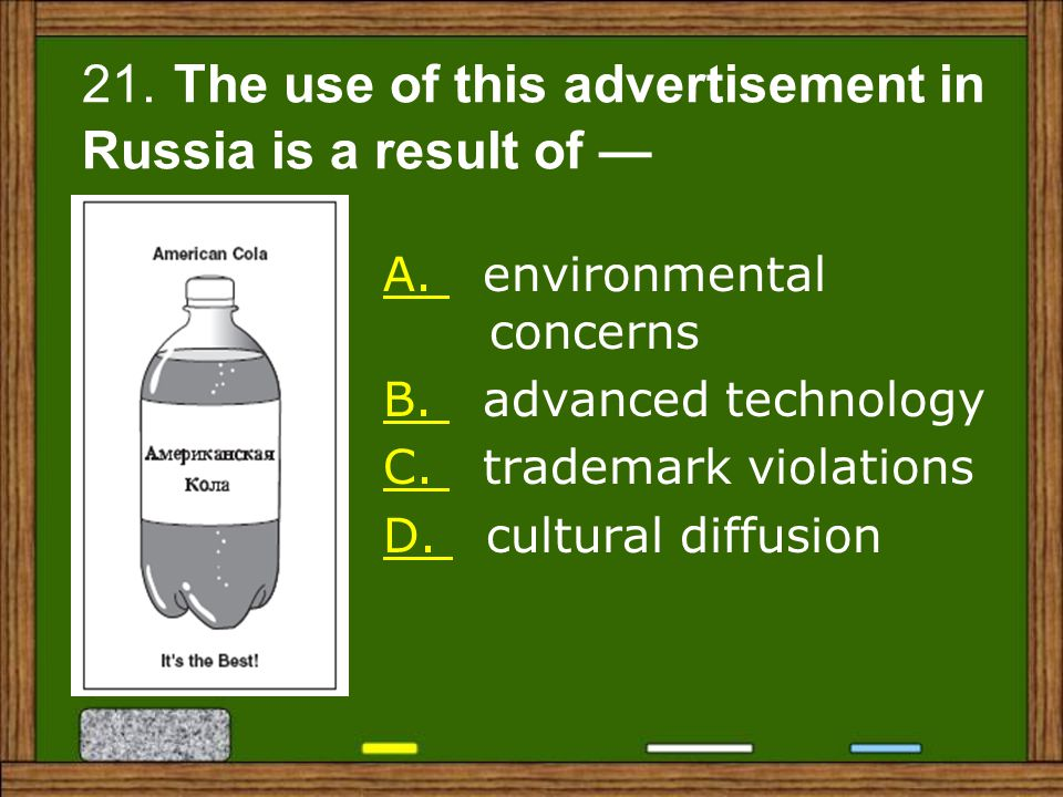 21. The use of this advertisement in Russia is a result of —