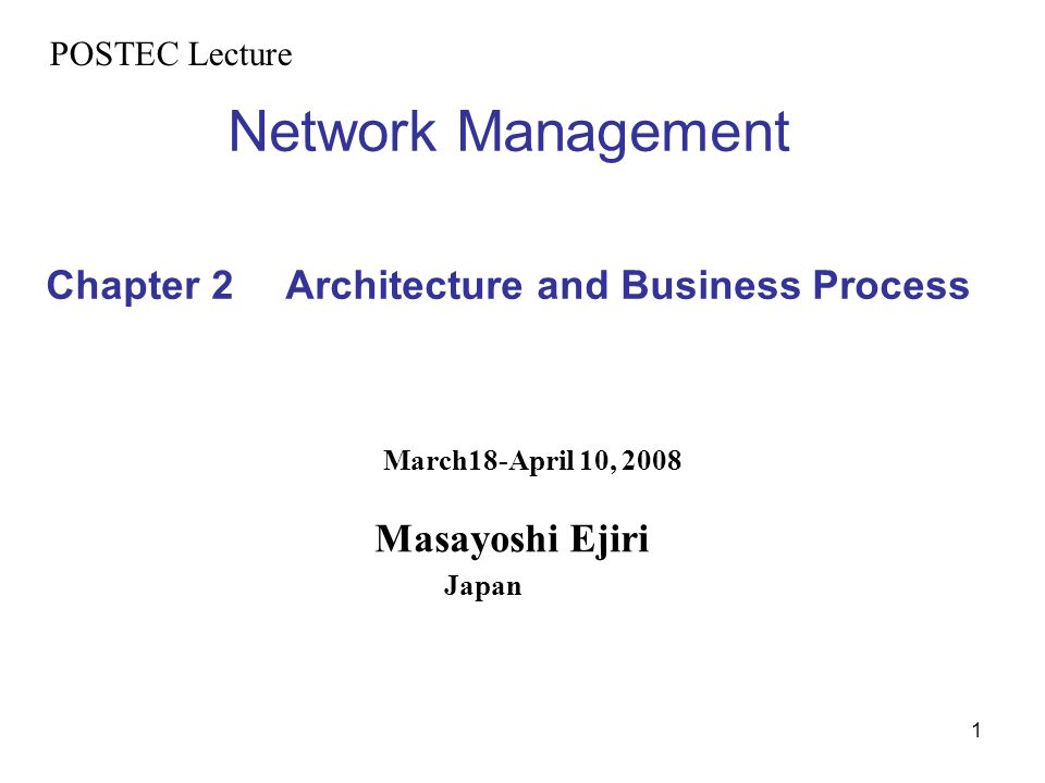 Network Management Chapter 2 Architecture and Business Process