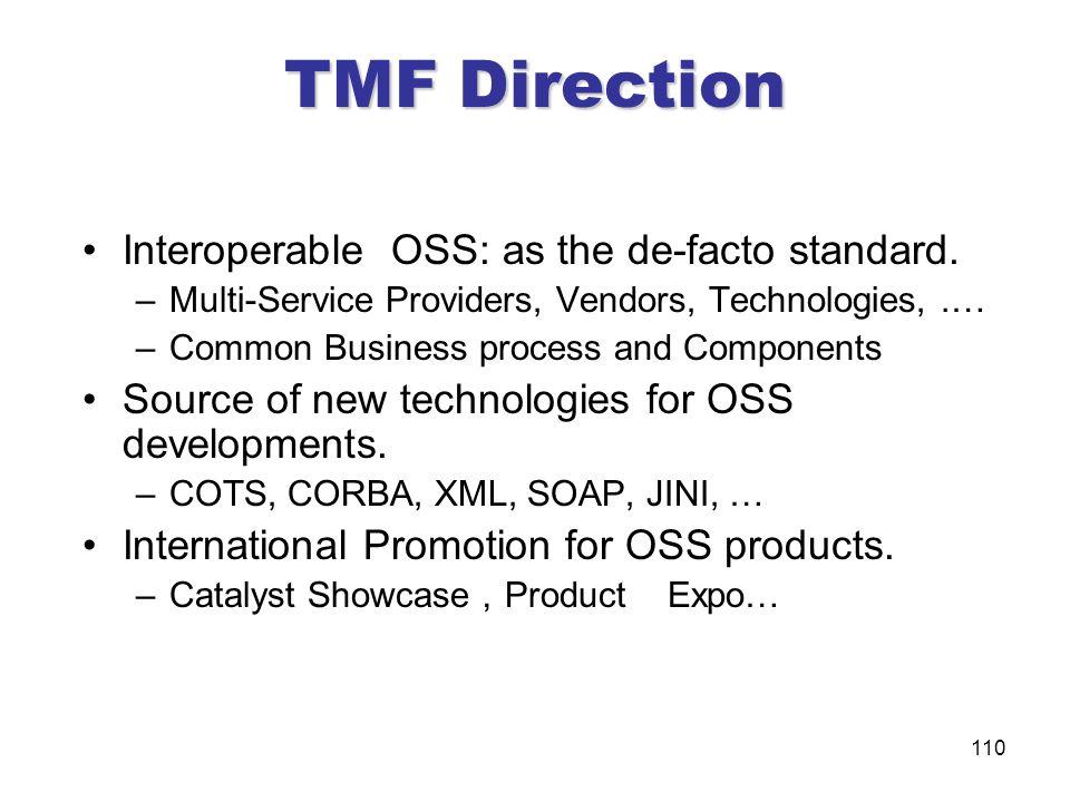 TMF Direction Interoperable OSS: as the de-facto standard.