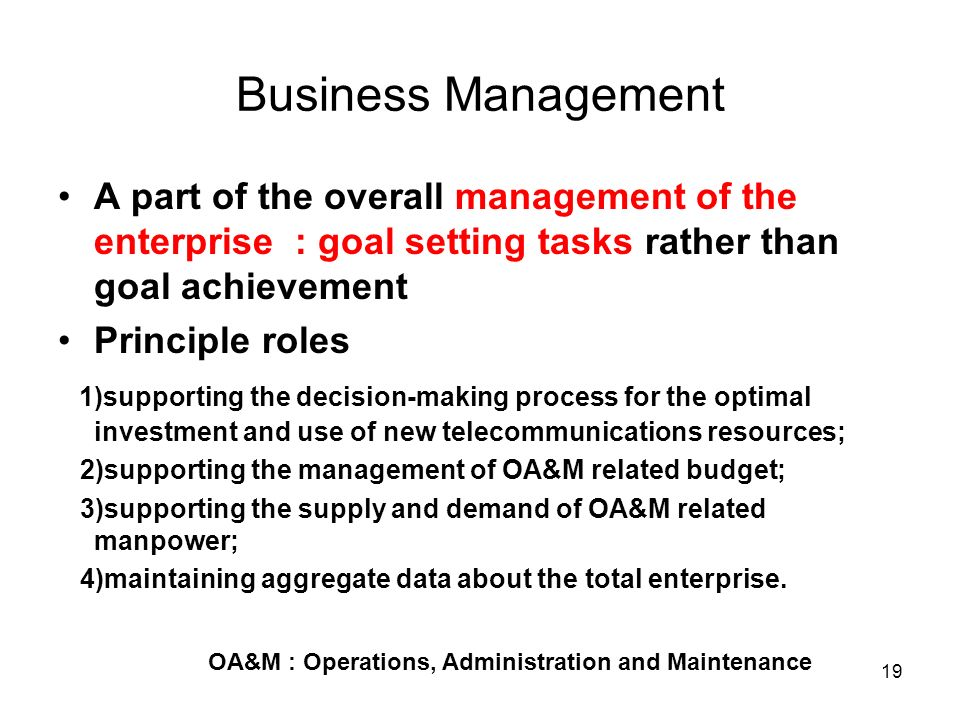 Business Management A part of the overall management of the enterprise : goal setting tasks rather than goal achievement.