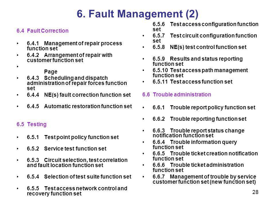 6. Fault Management (2) 6.5.6 Test access configuration function set