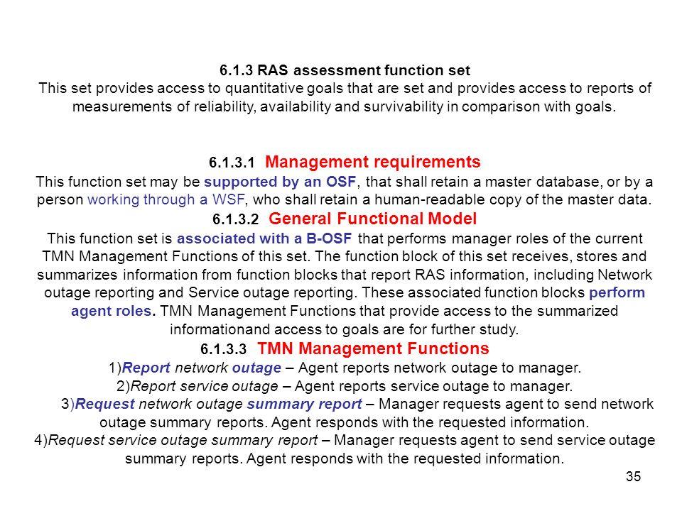 6.1.3 RAS assessment function set