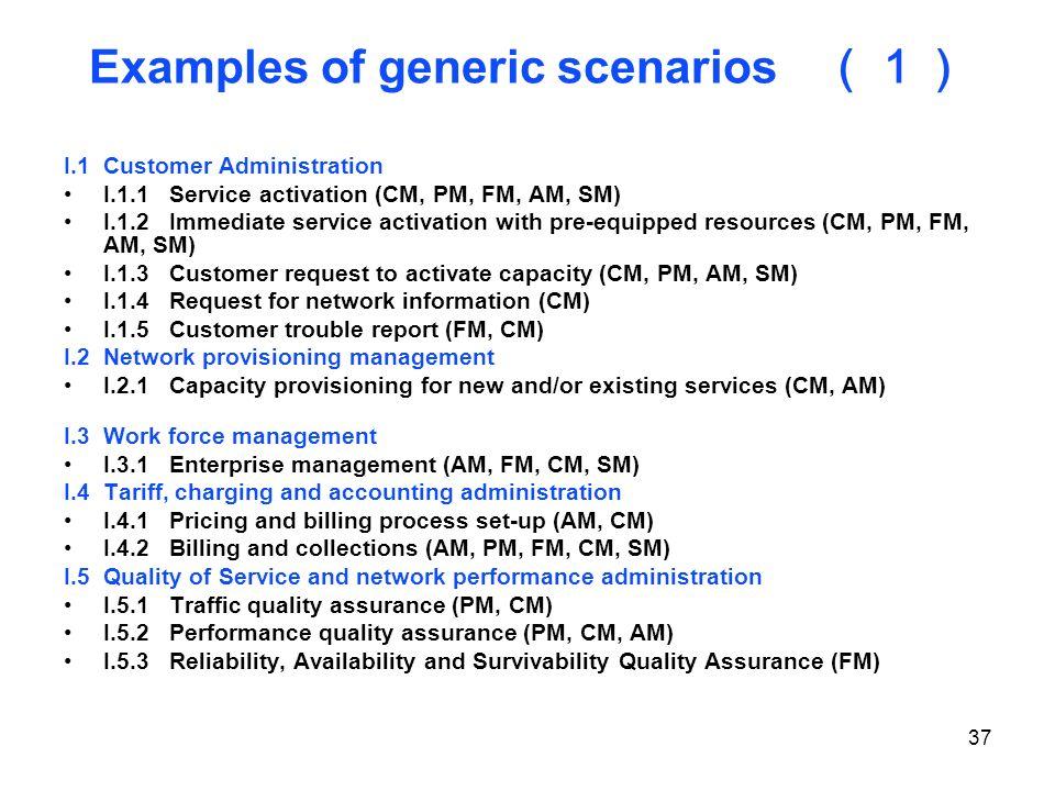 Examples of generic scenarios (1)
