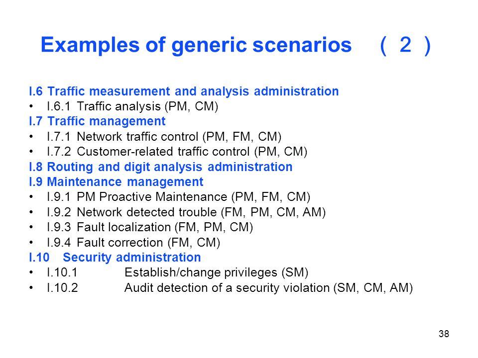 Examples of generic scenarios (2)
