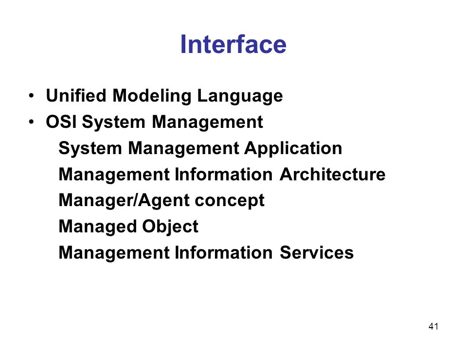 Interface Unified Modeling Language OSI System Management