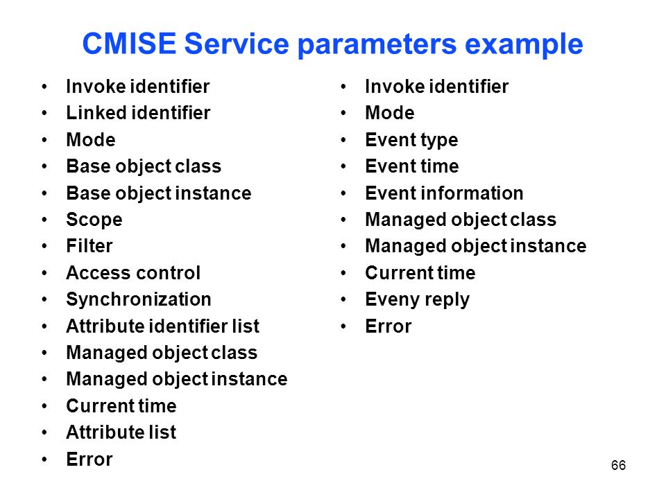 CMISE Service parameters example