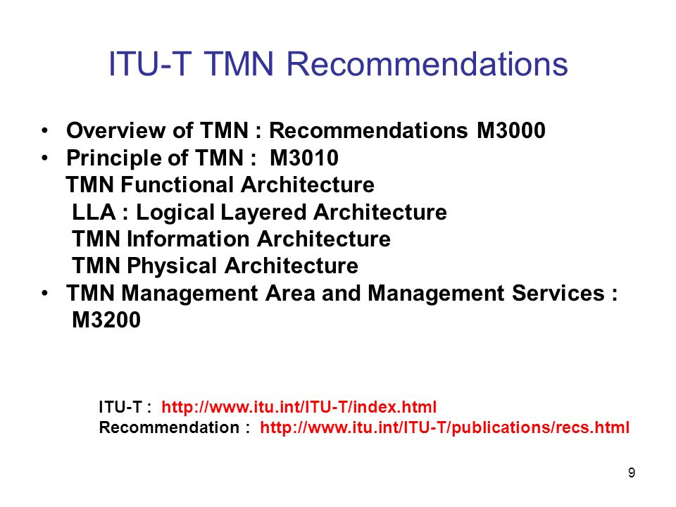 ITU-T TMN Recommendations